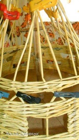 Мастер-класс Поделка изделие Плетение Абажур на заказ Бумага газетная Клей Краска Трубочки бумажные фото 7.