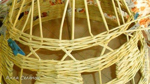 Мастер-класс Поделка изделие Плетение Абажур на заказ Бумага газетная Клей Краска Трубочки бумажные фото 8.