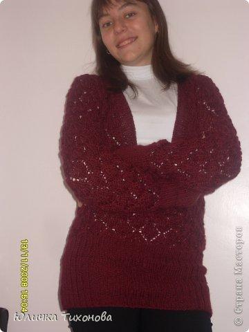 Здравствуйте! В этот раз я представляю ажурный пуловер с глубоким V-вырезом.