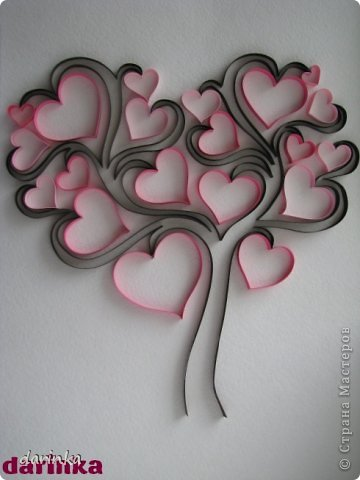 Квиллинг Сердечное дерево