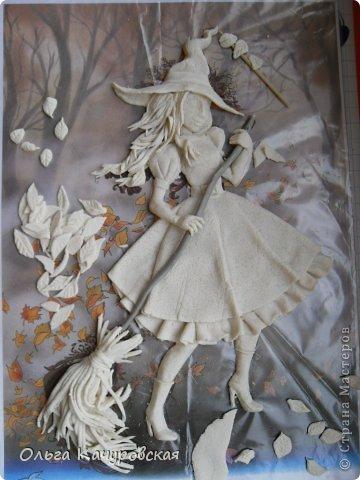 Картина панно рисунок Поделка изделие Лепка Баба Яга в молодости  -   Краска Тесто соленое фото 17