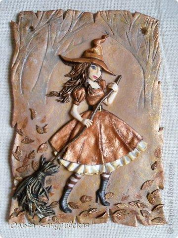 Картина панно рисунок Поделка изделие Лепка Баба Яга в молодости  -   Краска Тесто соленое фото 1
