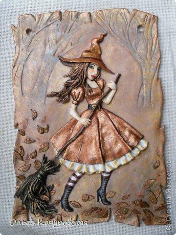 Картина панно рисунок Поделка изделие Лепка Баба Яга в молодости  -   Краска Тесто соленое фото 22