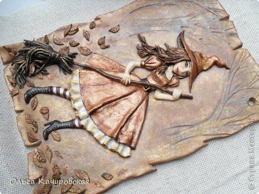 Картина панно рисунок Поделка изделие Лепка Баба Яга в молодости  -   Краска Тесто соленое фото 8