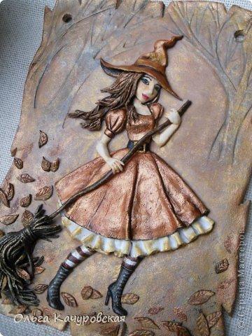Картина панно рисунок Поделка изделие Лепка Баба Яга в молодости  -   Краска Тесто соленое фото 2