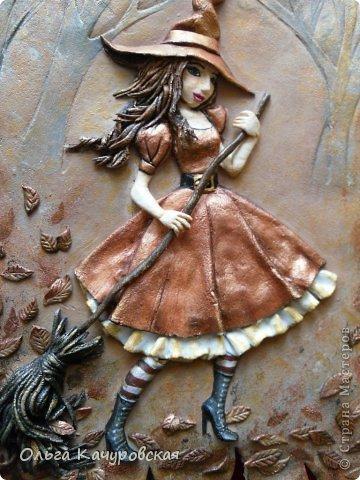 Картина панно рисунок Поделка изделие Лепка Баба Яга в молодости  -   Краска Тесто соленое фото 6