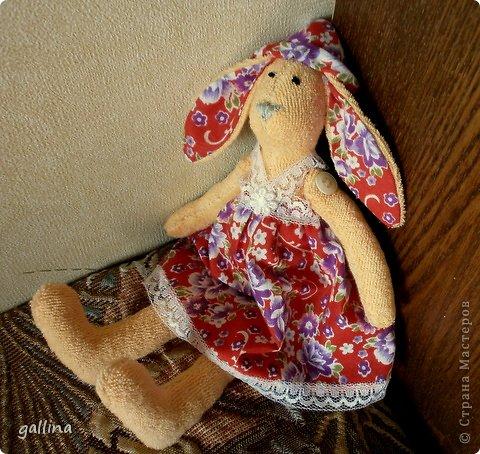 Из махрушки и ситца пошилась такая зая на день рождения маленькой девочке. фото 1