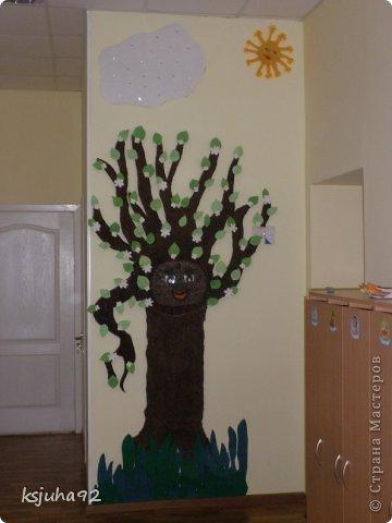 Таке дерево зустрічає діток у дитячому садочку. На даній фотографії у нас весна- період цвітіння дерев. При зміні пори року змінюється і вбрання дерева. фото 1