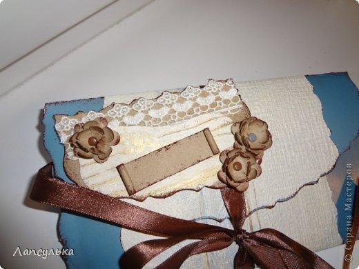 Всем доброго дня! представляю вашему вниманию конверт для денежного подарка! делала на  заказ задача стояла такая: не громоздко, девушке на 30 лет, любит голубой цвет...вот что получилось: фото 2