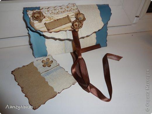 Всем доброго дня! представляю вашему вниманию конверт для денежного подарка! делала на  заказ задача стояла такая: не громоздко, девушке на 30 лет, любит голубой цвет...вот что получилось: фото 5