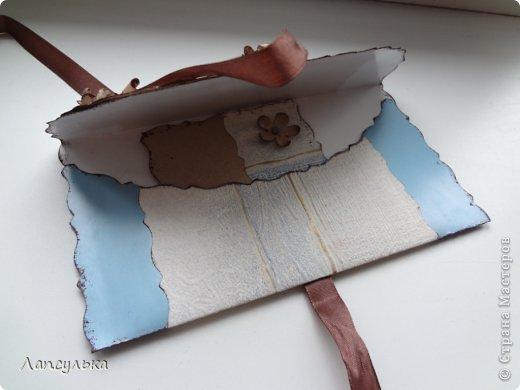 Всем доброго дня! представляю вашему вниманию конверт для денежного подарка! делала на  заказ задача стояла такая: не громоздко, девушке на 30 лет, любит голубой цвет...вот что получилось: фото 4