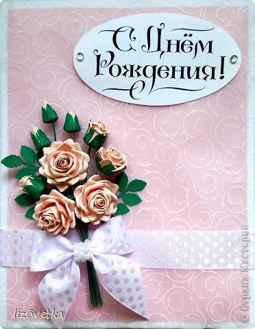 Всем привет! Хочу показать вам коробочку для небольшого подарка. Идею я взяла у Астории http://astoriaflowers.blogspot.com/ , за что ей огромное спасибо! Розочки делала по ее МК и стиль оформления переняла из одной ее открытки.  фото 2