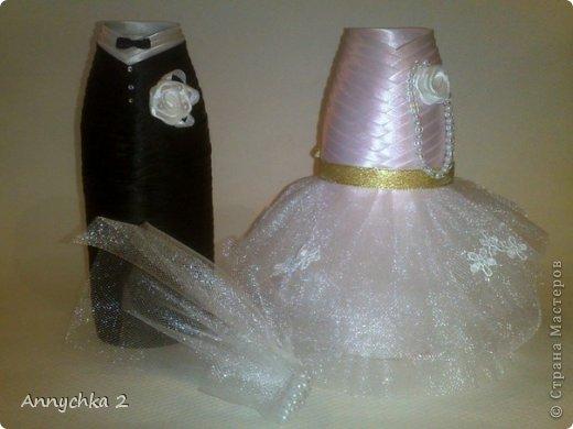 Декор предметов Свадьба молодожены Бусинки Клей Ленты фото 1