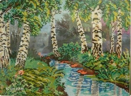 Сегодня у меня вышивка бисером. Вышивала целый месяц.  Теперь у меня две картины с изображением леса, одинаково оформленные. фото 2