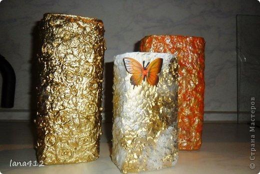 Декор предметов Вазы своими руками Коробки Краска Салфетки фото 2
