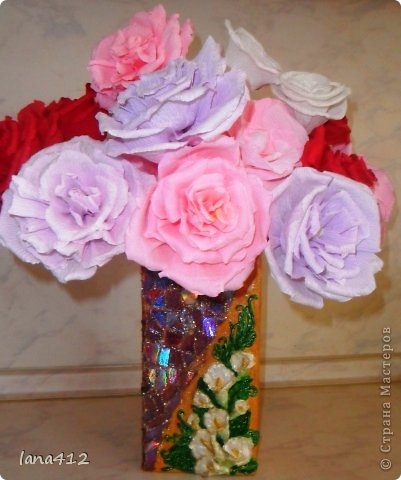 из коробок из-под сока; цветы из гофрированной бумаги фото 9