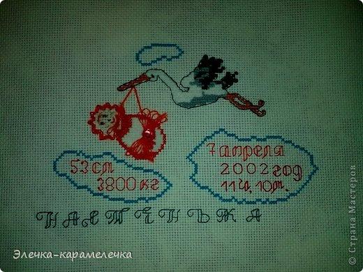 Картина панно рисунок День рождения Вышивка Метрика в подарок Канва Нитки фото 2.