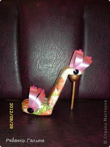 вот собственно туфли, выполнены в технике папье маше+декупаж фото 2