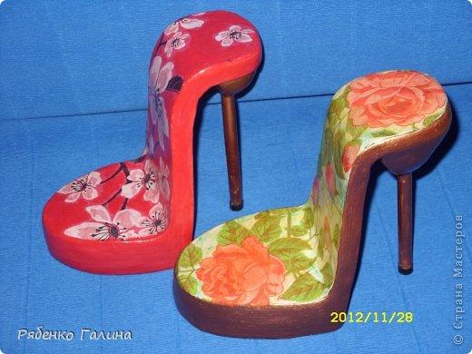 вот собственно туфли, выполнены в технике папье маше+декупаж фото 14