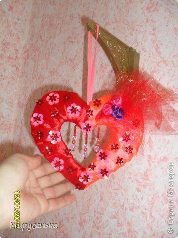 Поделка изделие Валентинов день На день влюблённых Акварель Бисер Картон Клей Ленты Материал оберточный.