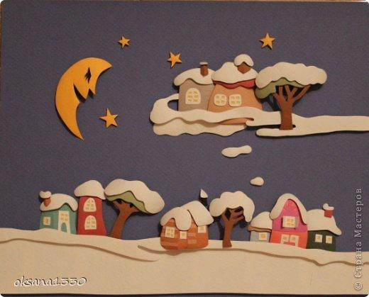 Картина панно рисунок Бумагопластика Домики в снегу Бумага