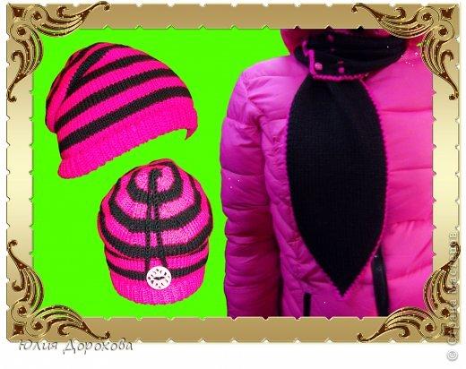"""Дочке на зиму под яркую розовую куртку нужно было связать шапку и шарф. Она нашла в интернете модели, которые ей хотелось. Шапка двойная, теплая. Только фото, без описаний. Пришлось думать, как это можно связать самой)) Делюсь опытом, может кому и пригодится. Нам понадобится: - пряжа черного цвета, у меня """"Камилла"""", производство NAZAR, (55% шерсть, 40% акрил, 5% кашемир, 100гр/320м) два мотка; - пряжа розового цвета, у меня BIANCA babylux, (45% детская шерсть, 55% акрил, 50гр/150м) два мотка; - круговые спицы № 3,5; - набор чулочных спиц № 3,5; - простые спицы № 3,5; - одна большая пуговица и три маленьких; - крючок № 3. Шапка связна на подростка. Окружность головы 53 см. фото 1"""