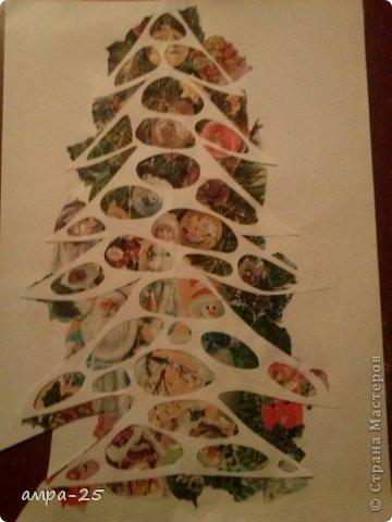 Вот такая елка получилась у нас из журнальных обрывков.   фото 4