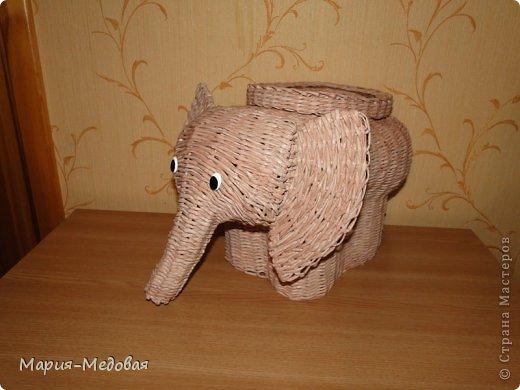 Поделка изделие Плетение Плетёный слоник мини мк Бумага газетная Трубочки бумажные фото 1