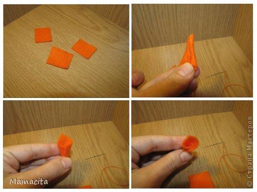 Как сделать морковку из ниток для снеговика