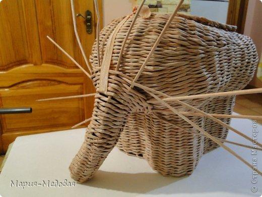 Поделка изделие Плетение Плетёный слоник мини мк Бумага газетная Трубочки бумажные фото 37