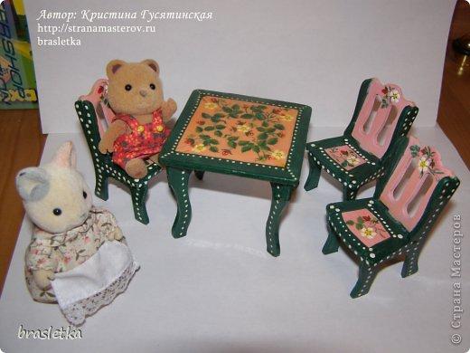 Кукольный столовый гарнитур. Роспись по дереву. Мебель для кукольного дома. фото 1