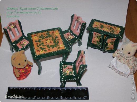 Кукольный столовый гарнитур. Роспись по дереву. Мебель для кукольного дома. фото 5