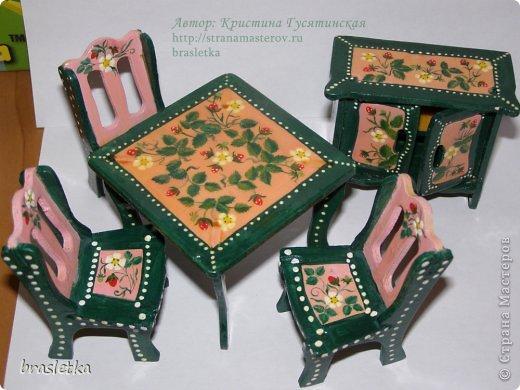 Кукольный столовый гарнитур. Роспись по дереву. Мебель для кукольного дома. фото 6