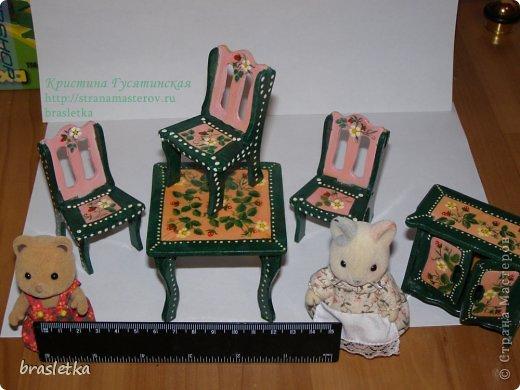 Кукольный столовый гарнитур. Роспись по дереву. Мебель для кукольного дома. фото 7