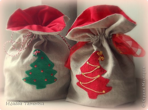 Как сделать из фетра мешок для подарков