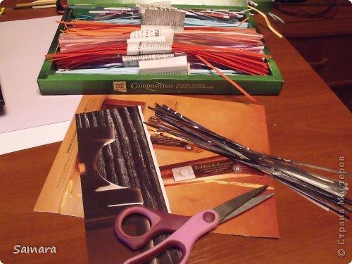 Представляю очередную работу. В одном из мастер-классов я обещала удивить, надеюсь, что мне это удалось. Материалы: лист формата А-3, полоски шириной 3 мм., более 20 цветов, клей ПВА, инструменты для скручивания роллов. фото 5