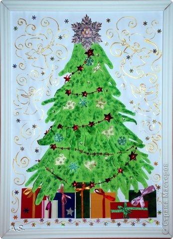 """Готовимся с ребятами к Рождеству. Оформляли выставку в витрине нашего краеведческого музея. Часть работ прошлогодняя, ну и новые, конечно, сделали. Идей было много - не всё успели:))) Это """"Рождественская композиция"""" Никиты, 6 лет фото 4"""