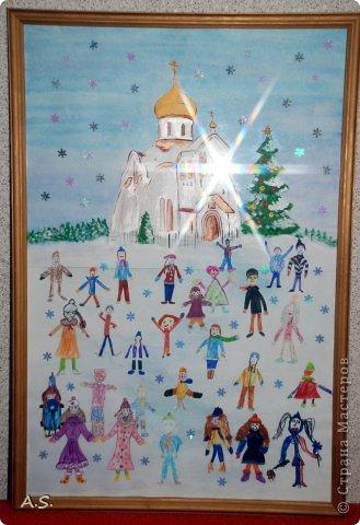 """Готовимся с ребятами к Рождеству. Оформляли выставку в витрине нашего краеведческого музея. Часть работ прошлогодняя, ну и новые, конечно, сделали. Идей было много - не всё успели:))) Это """"Рождественская композиция"""" Никиты, 6 лет фото 7"""