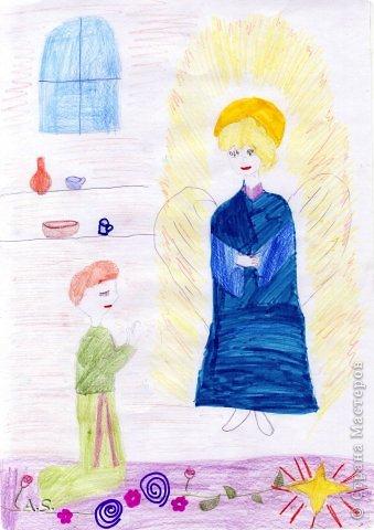 """Готовимся с ребятами к Рождеству. Оформляли выставку в витрине нашего краеведческого музея. Часть работ прошлогодняя, ну и новые, конечно, сделали. Идей было много - не всё успели:))) Это """"Рождественская композиция"""" Никиты, 6 лет фото 10"""
