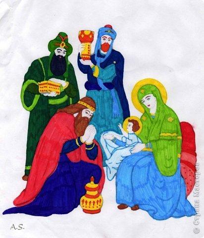 """Готовимся с ребятами к Рождеству. Оформляли выставку в витрине нашего краеведческого музея. Часть работ прошлогодняя, ну и новые, конечно, сделали. Идей было много - не всё успели:))) Это """"Рождественская композиция"""" Никиты, 6 лет фото 11"""