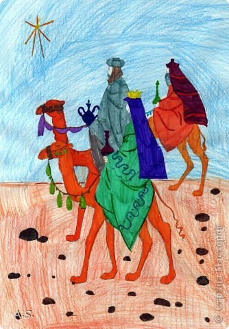"""Готовимся с ребятами к Рождеству. Оформляли выставку в витрине нашего краеведческого музея. Часть работ прошлогодняя, ну и новые, конечно, сделали. Идей было много - не всё успели:))) Это """"Рождественская композиция"""" Никиты, 6 лет фото 15"""