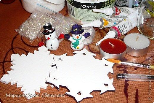 Мастер-класс Новый год Моделирование конструирование Роспись Снежные подсвечники МК Банки стеклянные Бусины Воск парафин Дерево Клей Краска фото 3