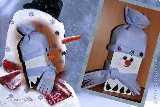 Этого снеговика сделали из коробки от чая Гринфилд. Шарф и шапка - из хозяйственных салфеток.Подарим детскому саду.