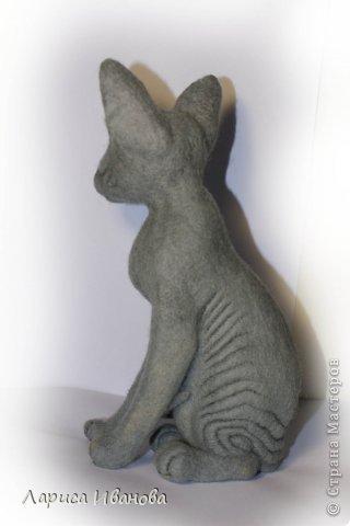Всем привет! Знакомьтесь - это очередная кошечка-сфинкс))). 22 см, сваляна из кардочесанной шерсти. фото 3