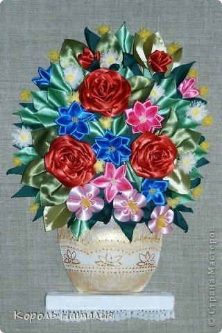 Цветочки выполнены в технике цумами канзаши.  Благодаря мастер-классам Веры Кравченко (мк.  Папье-маше.