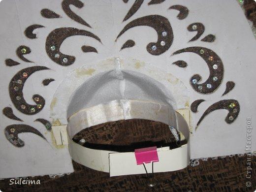 Мастер-класс Новый год Аппликация Кокошник для снегурочки МК Бумага Картон Тесьма шнур фото 14