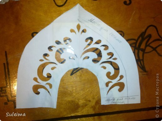 Мастер-класс Новый год Аппликация Кокошник для снегурочки МК Бумага Картон Тесьма шнур фото 5