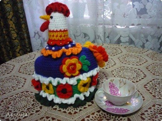 Мастер-класс Поделка изделие Вязание крючком Вязаная грелка на чайник Петушок Пряжа фото 23