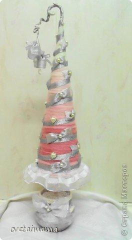 Поделка изделие Новый год Аппликация ГЛАМУРНЫЕ ЕЛОЧКИ Банки стеклянные Бисер Гипс Канва Ленты фото 2.