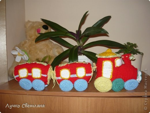 Игрушка Вязание крючком паровоз Нитки фото 3.